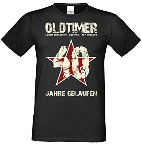 Soreso Design Geburtstag, Geschenk für Männer//Oldtimer 40 T-Shirt im Stern Look//die Besondere Geschenkidee Farbe: Schwarz Gr: XXL