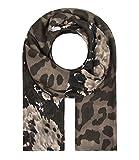 Majea Schal Damen Tuch Kopftuch Halstuch Schals und Tücher mit Muster Stola (olive 9)