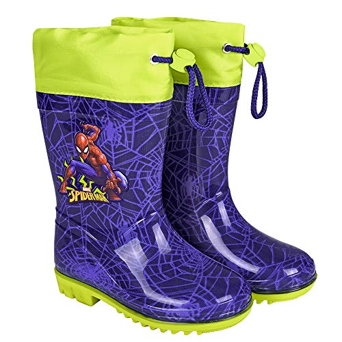 PERLETTI Marvel Spider Man Rain Boots Kids - Boys Waterproof Superhero Wellies Shoes with Anti Slip Outsole -Lemon Green Details with Spiderman