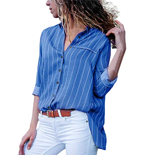 Ears Womens Summer Bluse Fashion Casual Bluse V-Ausschnitt Bluse Stripe Button T-Shirts Tops Bluse Rundhals Tunika Baseball T-Stück Print Shirt Kurzarmshirt Oversize Fitness Trainingsshirt