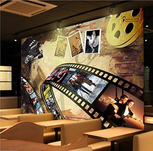 Wand Kino (Fototapeten Nostalgie Film Hintergrund Wand Lobby Dekoration Wohnzimmer Kino Wandbild,220cmx330cm)