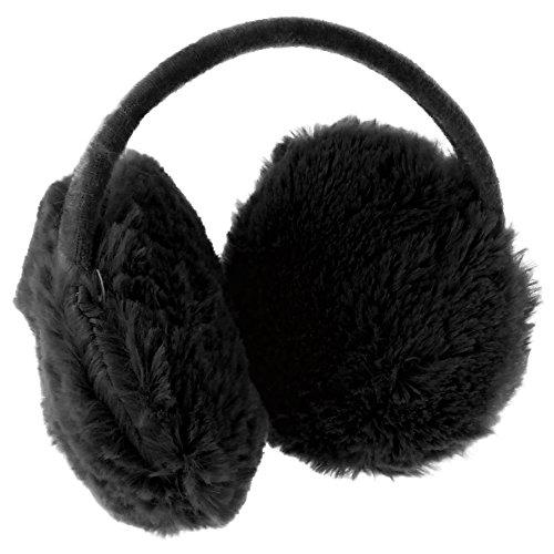 Ohrenschützer in verschiedenen Farben mit Plüsch tolle Ohrenwärmer! Earmuffs flauschig, weich und besonders angenehm zu tragen! (Schwarz)