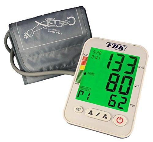 FDK FT-C11B Blutdruckmessgerät für den Oberarm mit 3 Farb-Hintergrundbeleuchtung, WHO-Anzeige und unregelmäßige Herzschlagerkennung