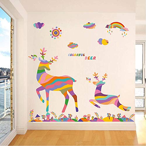 Eeemmm cartone animato colorato arcobaleno salto cervo adesivi murali foresta per soggiorno camera da letto vetrina da esposizione impermeabile pvc estraibile 120 * 90cm