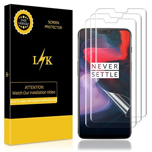 LK [3 stück] Schutzfolie für OnePlus 6 (Premium-Qualität) Bildschirmschutzfolie Anti-Bubble [volle Abdeckung] HD Klar Folie [Lebenslange Ersatzgarantie]
