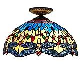 16-Zoll-Tiffany-Stil Deckenleuchte Glasmalerei Corridor Gang Lampe Wohnzimmer Schlafzimmer Gelb Bottom Dragonfly Dekoration Deckenleuchte