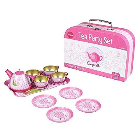 Peradix Toy Tin Tea Set for Children's Pretend Play