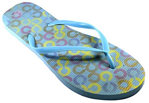 Octave® - Infradito da donna per l'estate e la spiaggia, diversi stili e colori Links Design - Light Blue