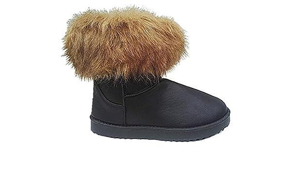 fashionfolie Femme Bottes Bottine Boots fur Fourré Fourrure Cheville Court  Hiver Filles 39158 NOIR  Amazon.fr  Chaussures et Sacs 32e6c0c93778