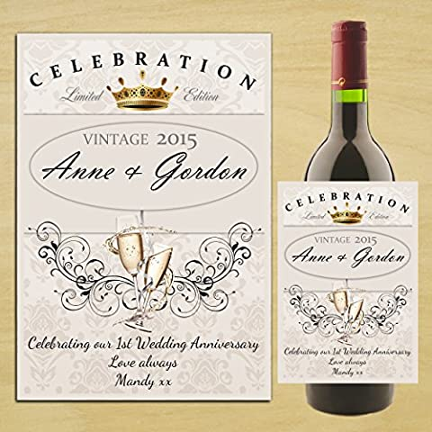 Personalised 1st 2nd 3rd Wedding Anniversary WINE CHAMPAGNE BOTTLE LABEL