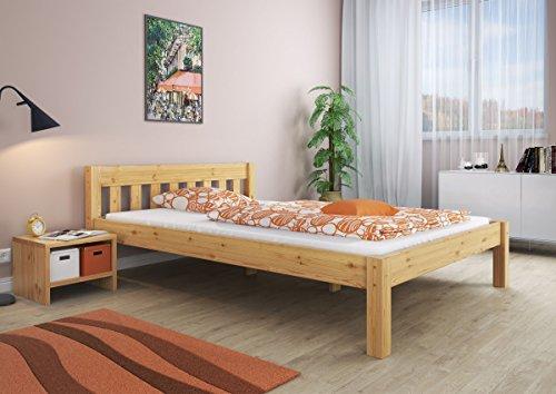 Erst-Holz Massivholzbett Kiefer Doppelbett Natur 140×200 Futonbett Bettgestell ohne Rollrost 60.38-14 oR