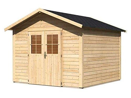 Karibu Gartenhaus Linau 8 natur 28 mm inkl. Schindeln schwarz Außenmaß (B x T): 304 x 304 cm...