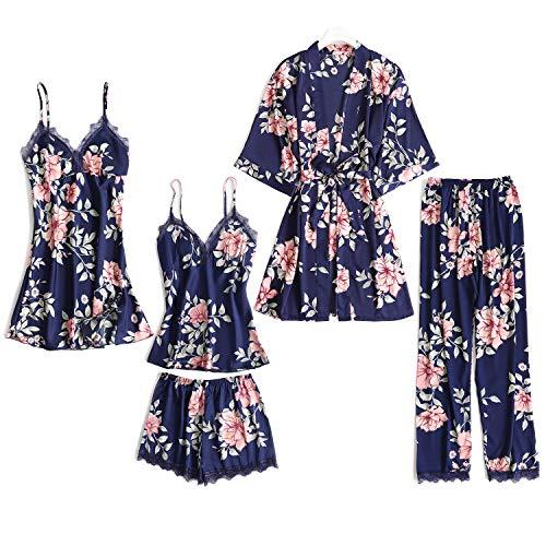 Lachi 2/5PCS Kimono Mujer Pijama Saten Conjunto Bata