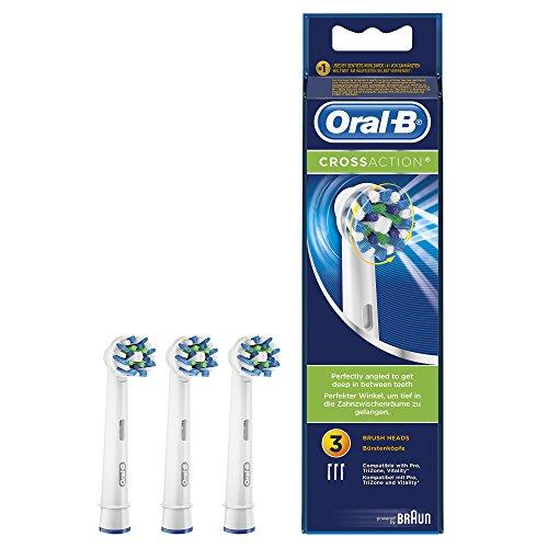 Oral-B Testine di Ricambio per Spazzolino Elettrico CrossAction, 3 Ricambi