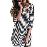 Bluelucon Damen Rundhals Stretch Casual Kleider Mini Kleid Langarm Lose Swing T-Shirt Kleid Blusen Tunika Mini Sommerkleid Gestreiftes Kleid -