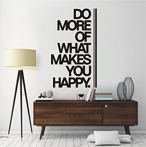 HomeTattoo ® WANDTATTOO Wandaufkleber Do more of what makes you happy Motivation 774 XL ( L x B ) ca. 100 x 58 cm (schwarz 070)