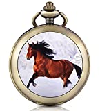 Infinite U Orologio da taschino meccanico con fotografica quadrante nero cifra Romani in lega il Cavallo che galoppa con due catene per uomo donna