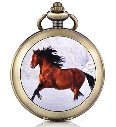 Unendlich U Retro Pferd Ross Foto Medaillon Handaufzug Mechanische Taschenuhr Schwarzes Zifferblatt Skelettuhr Pullover Halskette, beide Ketten