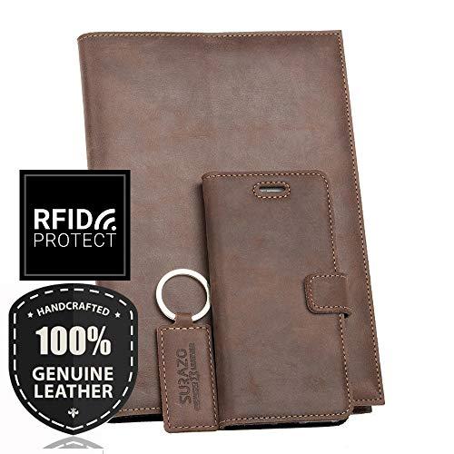SURAZO Leder Geschenkset - Handy Schutzhülle, Kalender, Schlüsselring aus Echtesleder Farbe Nussbraun für Samsung Galaxy Note 5 (N920)