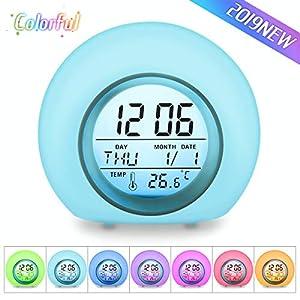 Charminer LED Kinderwecker, 7 Farben Ändern Lichtwecker, 5 natürliche Klänge Schlaf verbessern, Touch Control,12/24 Stunden mit Innentemperaturanzeige Hellblau