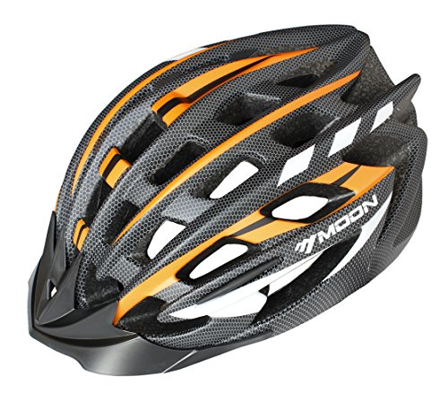 Moon Special Adult Sport Cycling Helmet In-Mold Tech,Mountain MTB&Road Dual Purpose with Removable Visor,Lightweight Design,EPS Carbon Fiber£šUnisex Women Men£©[8.1 oz][31 vent]Orange&Black