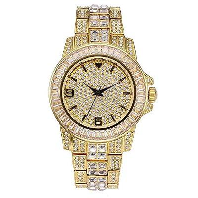 Reloj de Diamantes Completamente Helado para Hombre, Pulsera de Reloj de Cuarzo con Diamantes de imitación de Cristal Unisex y un Reloj