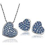 Onefeart Weiß Vergoldet Anhänger Halskette Für Damen Ohrstecker Pave Rhinestones Herz Form Blau