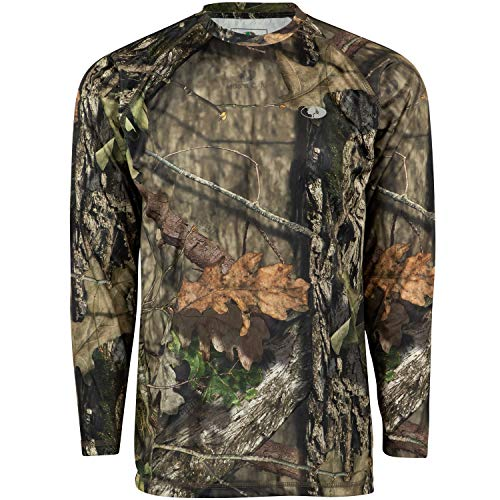 Mossy Oak Herren Mo Camo Performance Long Sleeve Tech Hunting Shirt Langärmelig, Break-Up Country, Large (Camo Long Sleeve)