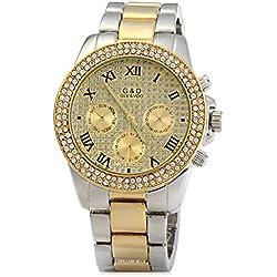 ParaCity GND Men Diamond Quartz Watch with Decorative Sub-dials Stainless Steel Watchband
