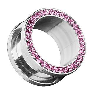 Piersando Flesh Tunnel Ohr Piercing Plug Ohrpiercing Schmuck Schraub aus Edelstahl Tribal mit Zirkonia Kristall Steinen 5mm Pink