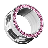 Piersando Flesh Tunnel Ohr Piercing Plug Ohrpiercing Schmuck Schraub aus Edelstahl Tribal mit Zirkonia Kristall Steinen Silber 10mm Pink