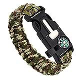 Masterein-5in1-Outdoor-Seil-Survival-Gear-Überlebens-Notfall-Armband mit Kompass, Feuerstein/Feuer-Starter und Pfeife 23 cm Army Green Camouflage