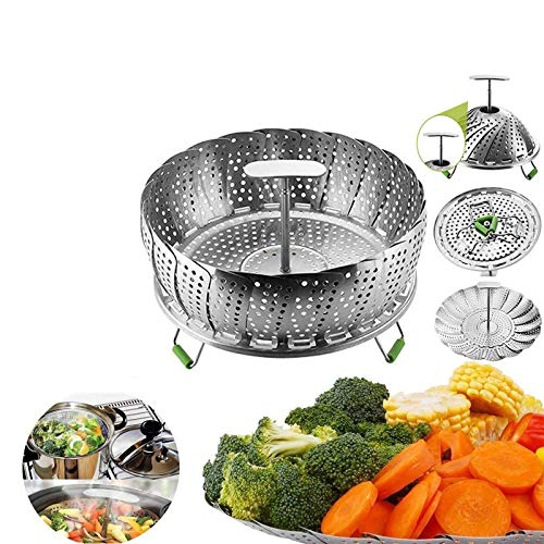 Honsin Stainless Steel Adjustable Vegetable Steamer Basket for Pots Pans Crock New