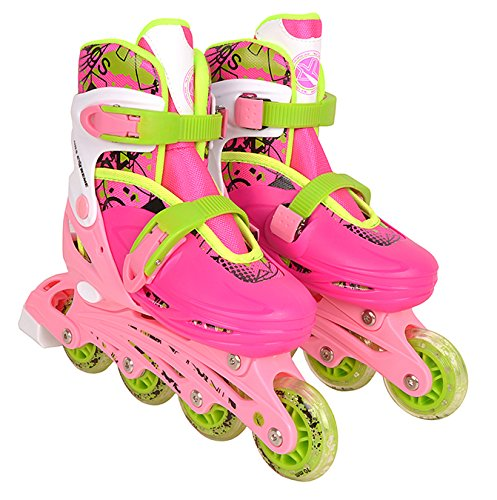 Inline Skate Inlineskating Schlittschuhe Rollschuhe verstellbar Kinder 4in1 NH18330 (rosa, S)
