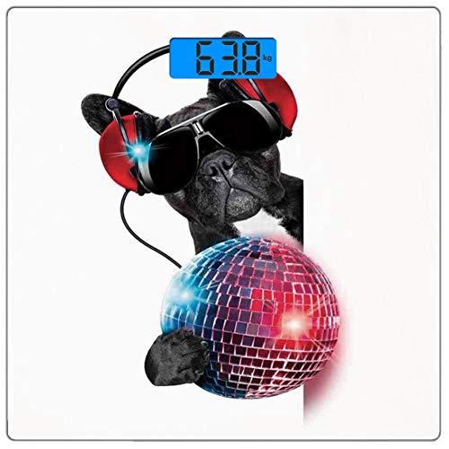 Digitale Präzisionswaage für das Körpergewicht Platz Musik-Dekor Ultra dünne ausgeglichenes Glas-Badezimmerwaage-genaue Gewichts-Maße,DJ-Bulldogge, die Musik mit einem fantastischen Discokugel-Welpen