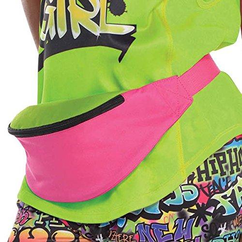 AmsRetro Hip Hop Bum Bag Pink and Green