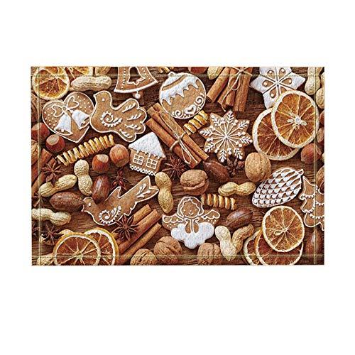 Aliyz Weihnachtsdekoration, Nuss Drisd Fruit Cookie Holzuntergrund, Badteppiche, Rutschfeste Fußmatte Bodeneingänge innen vordere Türmatte, Kinder Badematte, 15.7x23.6 Zoll, Bad-Accessoires