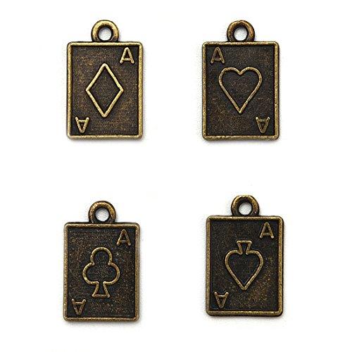 OBSEDE Poker Card Casino Charms Bastelbedarf für Schmuckzubehör Machen 4 Verschiedene Charms 100Pcs