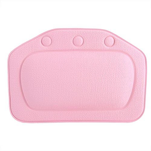 Dioche Badewannen Kissen, weiches Schaum Gepolstertes Badekurort Kissen PVC Wanne Kopfstützen Kopf Hals Rückseiten Kissen Badezimmer Zusätze für Hauptgebrauch(Pink)