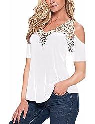 ZANZEA Mujeres Camiseta Blusa Casual Elegante Oficina Algodón Encaje Mangas Cortas Abiertas