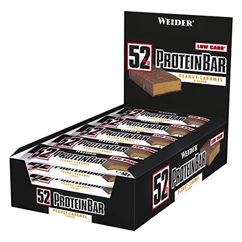 Weider 52{21dfa777b0b2c07cc9c12876ca6b4805b755a00116a2cc47d50bc5e46be176d6} Protein Bar (24x 50g Box), Peanut-Caramel/Erdnuss-Karamell, 1er Pack, (1 x 1.2kg)