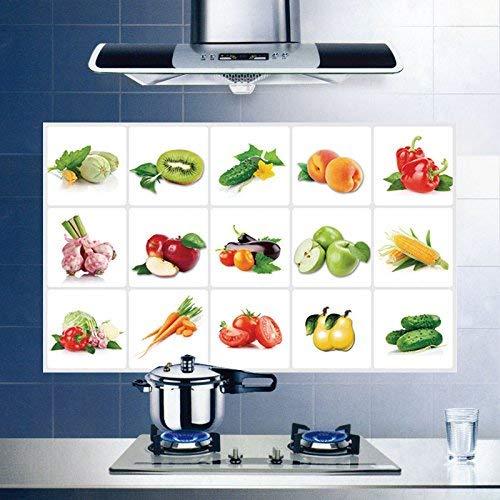 Mural Selbstklebende Hintergrund-Wand, Küchenöl gegen Hochtemperaturbeständige Film-Schälmaschine Ofen-Fliesen-Aluminiumfolie-Wand-Plakat-Frucht und Gemüse, dekorative Wasserdichte Aufkleber (Früchte-wand-aufkleber)