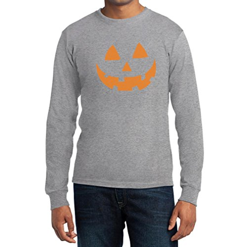 Jack O' Lantern Kürbis Gesicht Halloween Langarm T-Shirt Grau