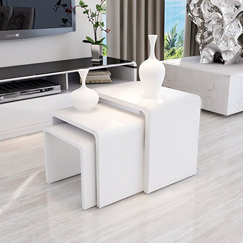 UEnjoy Nest Of Tables White Gloss Coffee Table Side Table Living Room Part 20