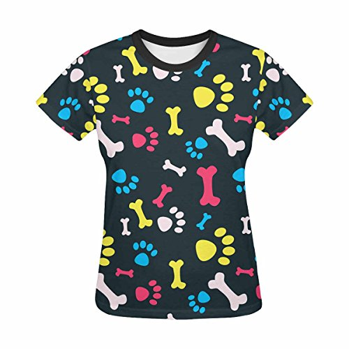Womens Tops T-Shirts Print with Colorful Dog Paws Bones