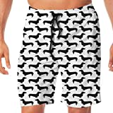 Huabuqi Doxie Dackel Wiener Dog Sausage Dog Schwarzweiss-Hundeschattenbild Cute Dog Dogs Pet_56 Männer Badehose Surf Beach Urlaub Party Badeshorts Strandhosen