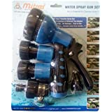 """Mitras Water Spray Gun Set For Car & Bike Cleaning Blue 20mm (3/4"""") With Tap Adapter Having Easy To Use Butterfly Clamp To Tighten"""