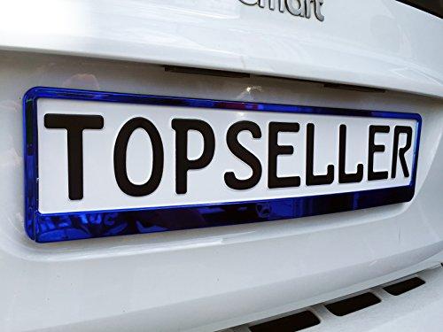 2 x Kennzeichenhalter Nummernschildhalter Blau Chrom Metallic Autozubehör Auto