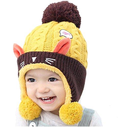 Babybekleidung Hüte & Mützen Longra Baby Kinder Jungen Mädchen Beanie Katze Baumwolle Hut Kinder Print Wintermütze Stricken Hüte(1-4Jahre) (Schal Hut Katze Mit)
