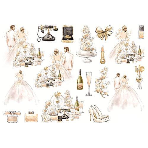 CAOLATOR Sticker Hochzeit Aufkleber Mädchen Kleid Deko Stickerbögen für Stickerbuch Tagebuch Fotoalbum Notizbuch Kalender Dekoration Scrapbooking,